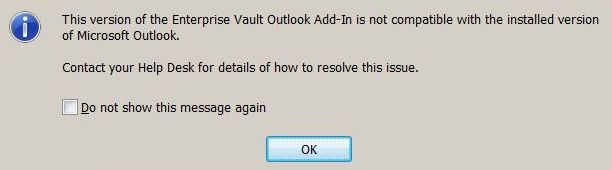 Symantec Enterprise Vault Error – This version of the