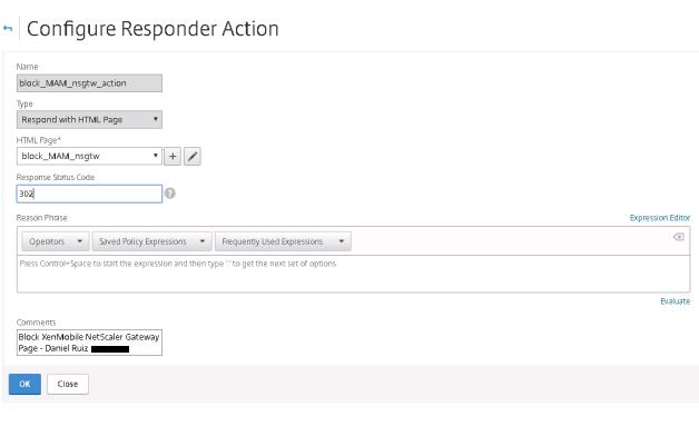 XenMobile Responder Action